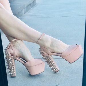 JEFFREY CAMPBELL spiked heels PLATFORMS nude 9.5